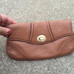 Women's Talbots Tan Pebbled Leather Wristlet New